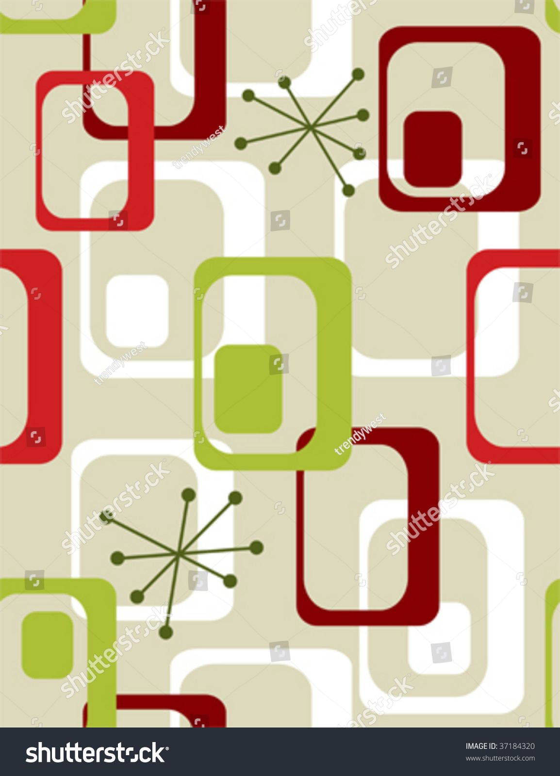 Christmas seasonal wallpaper retro 50s seamless pattern