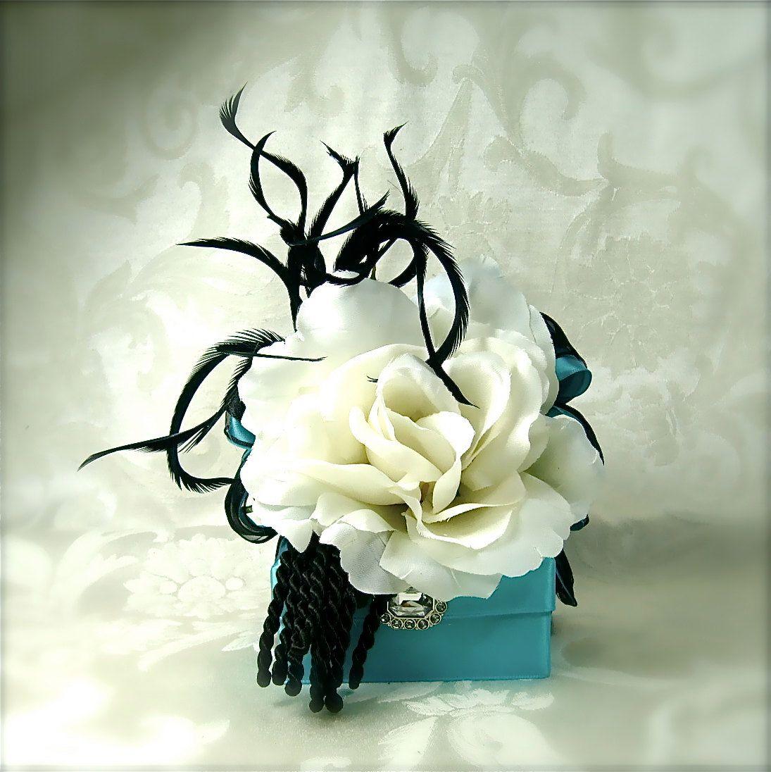 etsy, wrapsodyandink, Teal Blue Wedding Favor Box Reuseable Gift Card Holder Box  Tip Money Holder  Elegantly Prewrapped