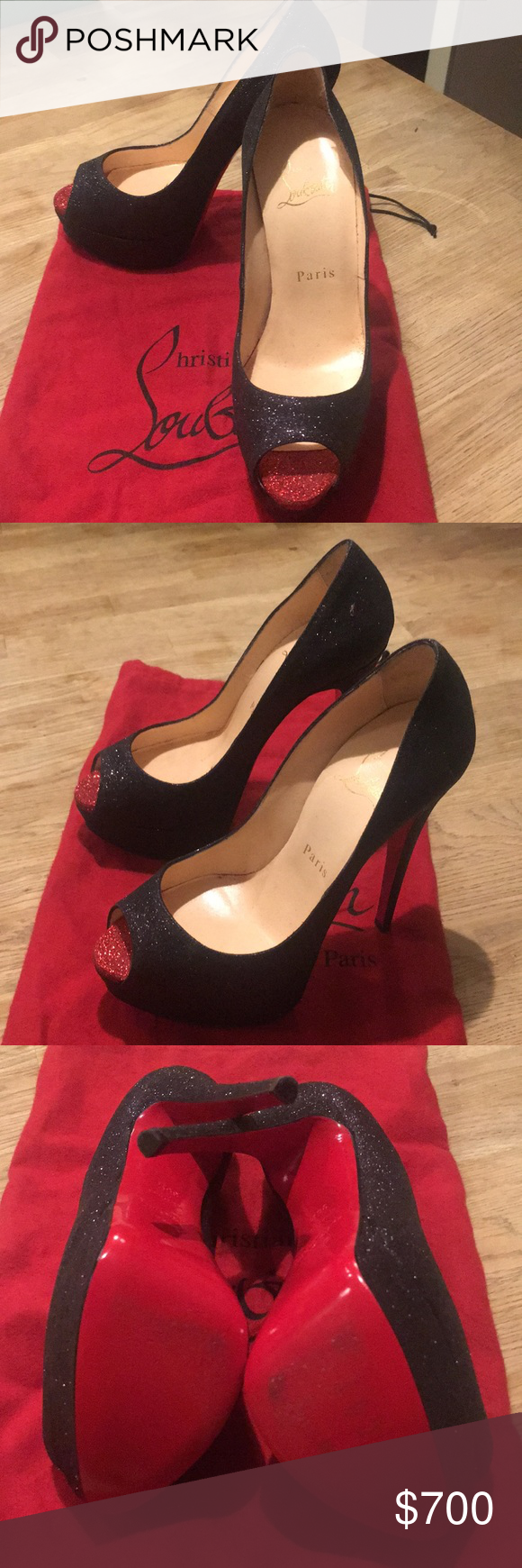 5169d0775adc Christian Louboutin Black Glitter Lady Peeps Louboutin Lady Peeps.  Practically brand new. Worn once to walk from my car to a restaurant.