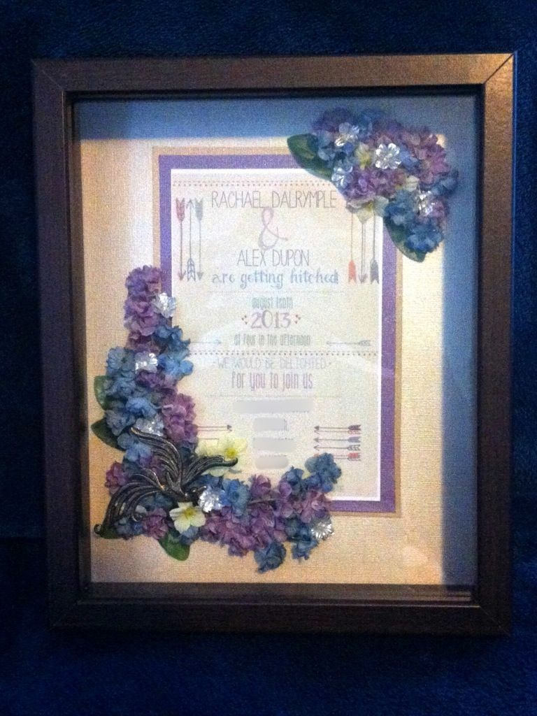 Last weekend a couple of my friends got married, and for part of their wedding gift I made them a simple, elegant shadow box featuring their invitation. (Apologies in advance for the grainy picture…