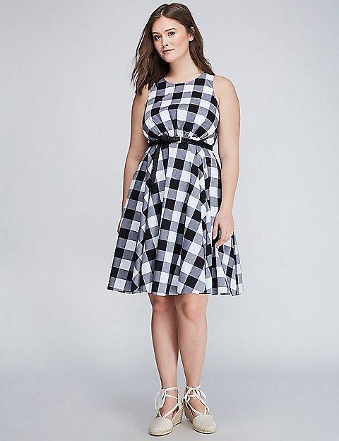 Gingham Fit & Flare Dress | Lane Bryant