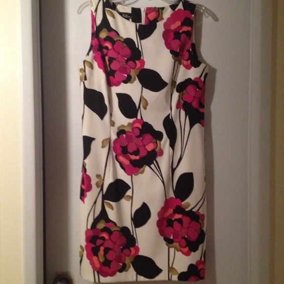 Dress White with bold magenta, pink and black floral print, invisible zipper, just above the knee AGB Dresses