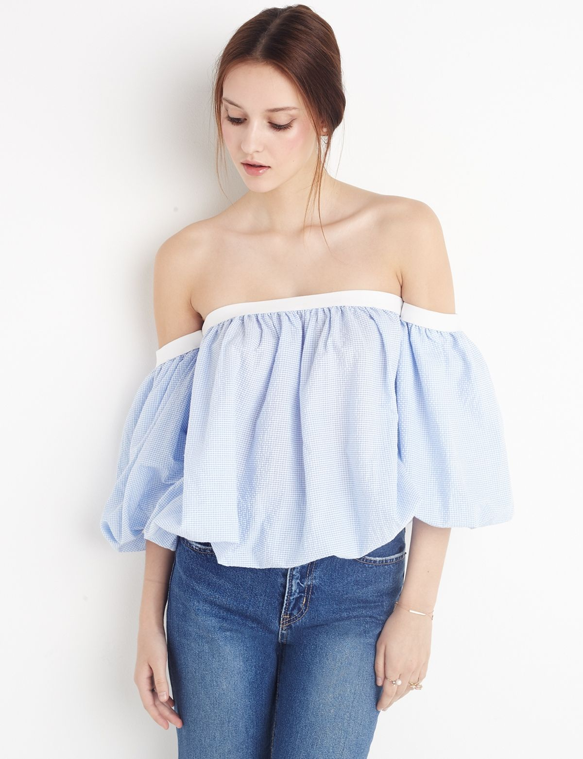 68b6caff0c18a3 Baby blue gingham cotton off the shoulder top with detached bubble  sleeves. fashion  pixiemarket