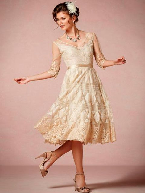 Vestido de novia corto color champagna escote en V mangas tres ...