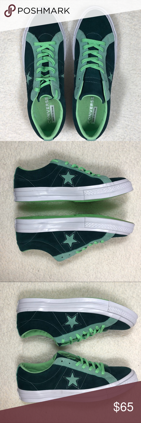 NWOT Mens Green Suede Converse One star Sneakers NWOT Two toned green unisex Converse One Star sneakers.   Upper: Suede Soles: Rubber Smoke free environment Currently in stock: sizes 8 10 & 11 No original box available but we ensure safe shipping of your purchase. Converse Shoes Sneakers #men'sshoes #men's #shoes #converse