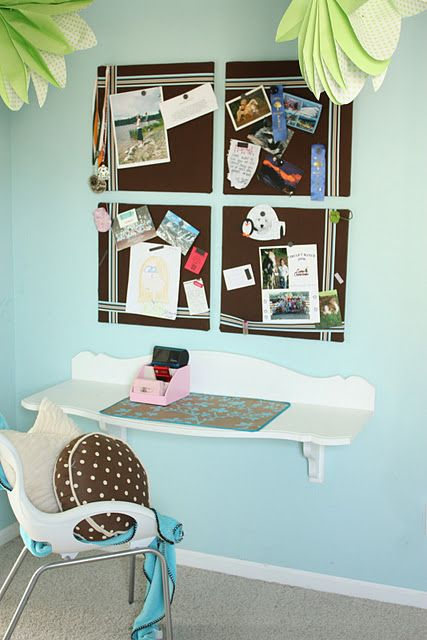 Superb Space Saving Wall Mounted Desk, Using Repurposed Headboard And Wood  Brackets For Support Photo