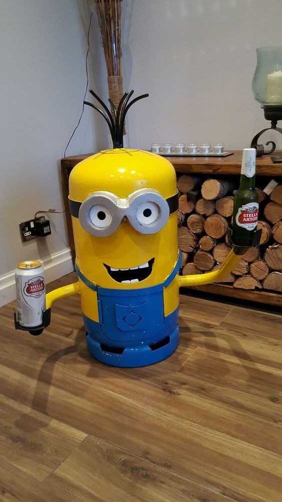 Minion Gas Bottle Log Wood Burner Chimenea Heater Or Beer