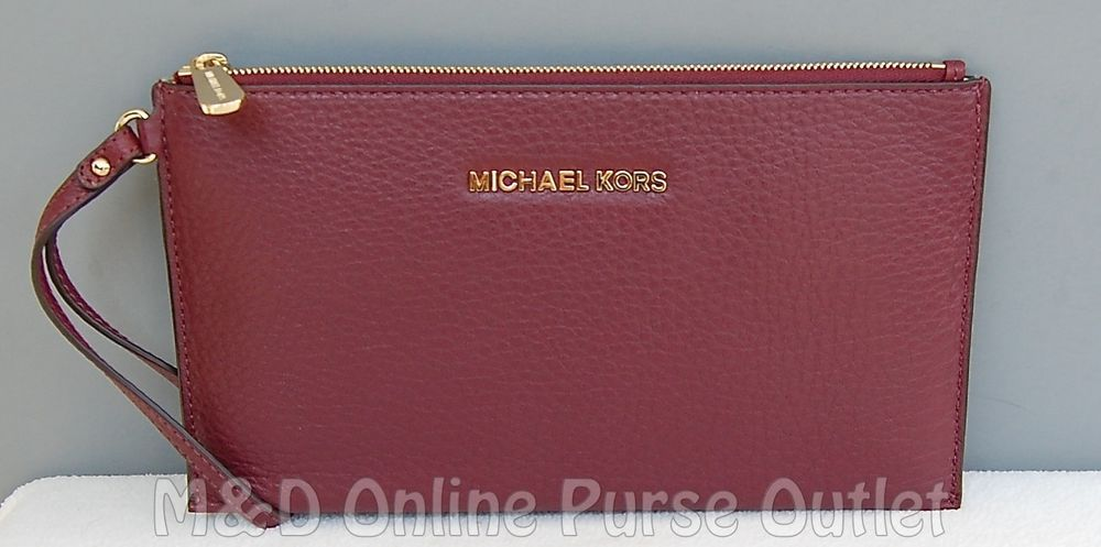 e718cfe6d2788b NWT Michael Kors Bedford Large Leather Zip Clutch Wristlet Wallet ~ Merlot # MichaelKors #ClutchWallet
