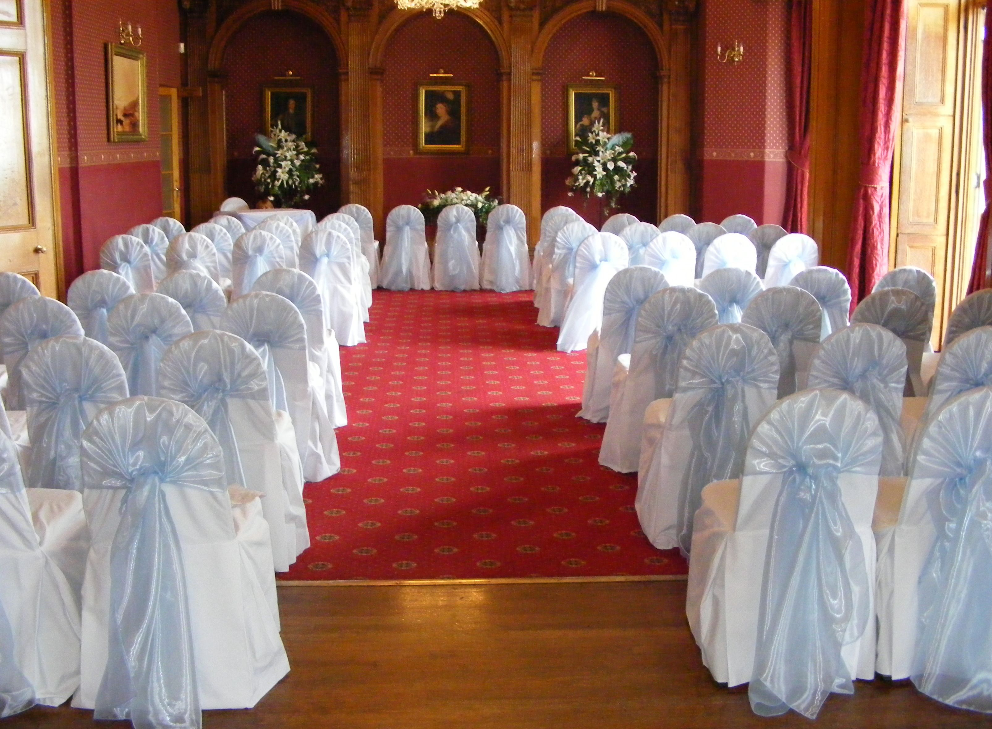 White Cotton Chair Covers With Lovely Ice Blue Hooded Sashes The Grand Ballroom Haigh