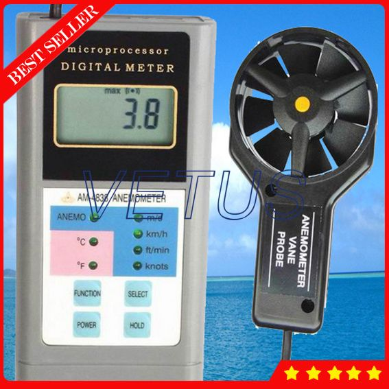 Am 4838 Digital Wind Measuring Instruments With Anemometer Air Flow Anemometer 0 4 30m S Anemometer Measuring Instrument Digital
