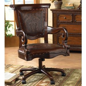 Tooled Leather Western Desk Chair Black Forest Decor Rustic