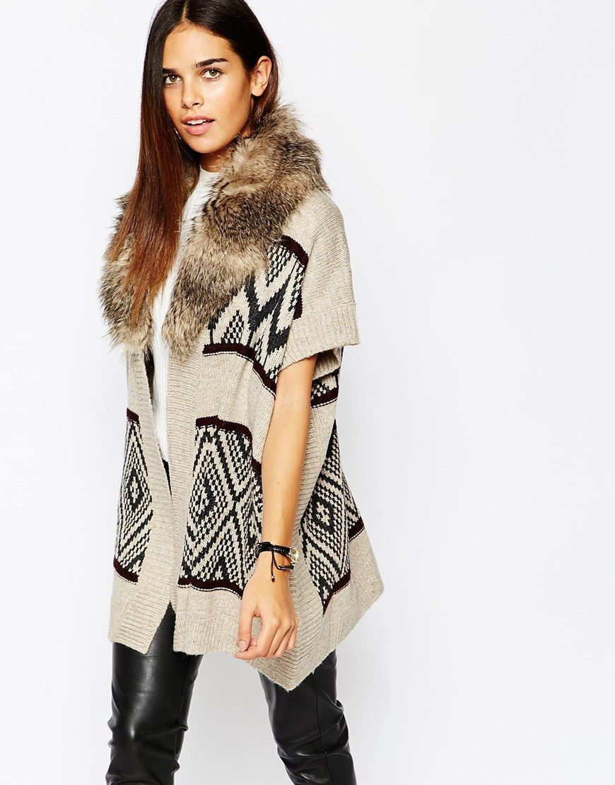 Image 1 of Warehouse Printed Cardigan With Faux Fur Collar ...