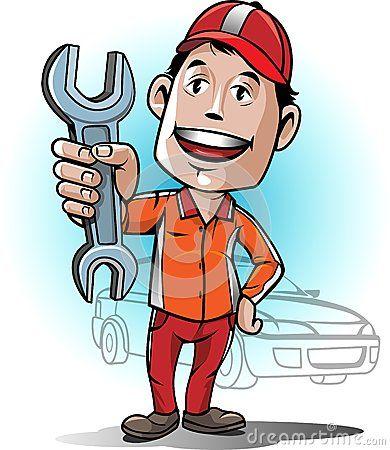 Mascot Auto Mechanic Service Center Kartun Mekanik Mobil Karikatur