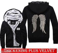 2014 The Walking Dead Daryl Dixon Gráfico Suéter Con Capucha Engrosamiento Plus de Terciopelo | eBay