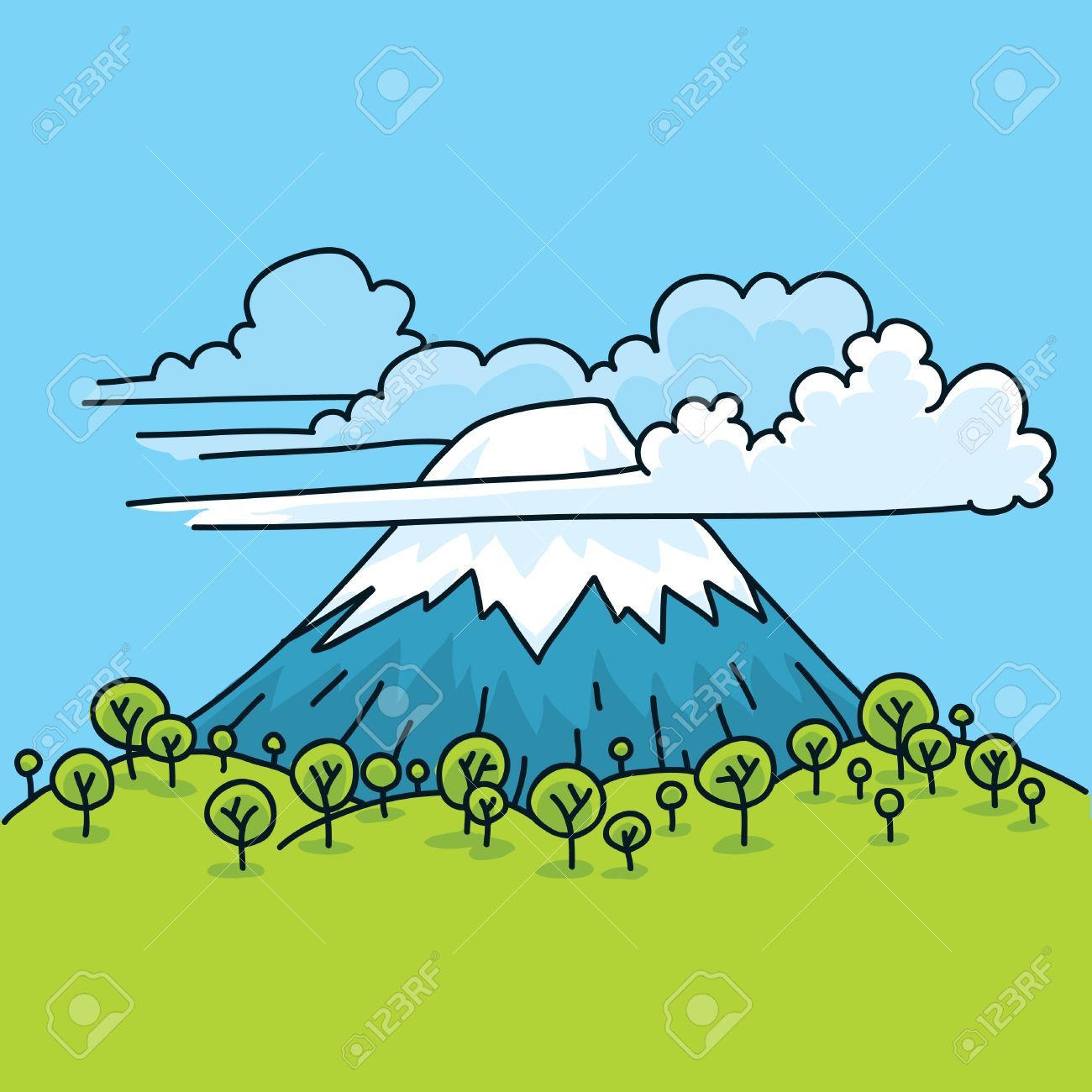 Clouds surround a cartoon mountain in spring. , #Ad, #surround, #Clouds, #cartoon, #spring, #mountain