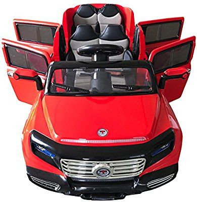 Amazon Com Two Seater 4 Door Premium Ride On Electric Toy Car For Kids 12v Battery Powered Led Lights Toy Cars For Kids Kids Power Wheels Little Girl Toys