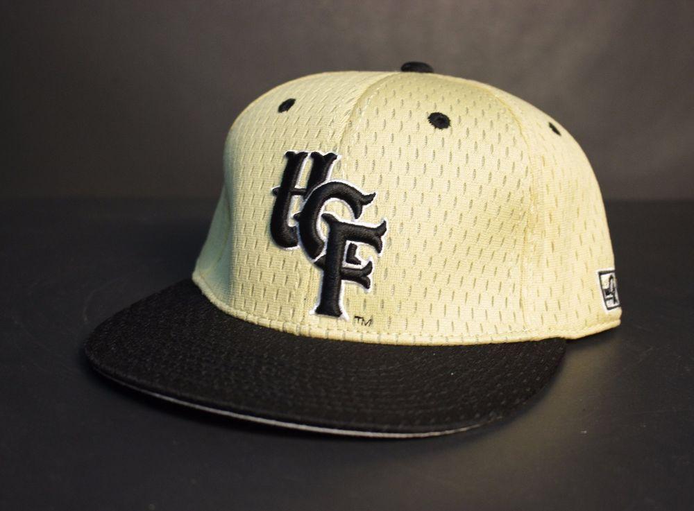 UCF Knights Baseball Hat Cap 7 5 8 Gold Black Mesh Fitted Central Florida  NWT  TheGamePro  BaseballCap 84b640e9a0b2