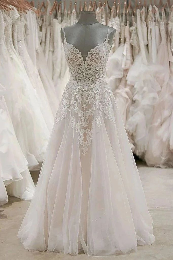 A Line Spaghetti Straps Tulle Wedding Dresses Appliqued Cheap Bridal Dresses OKN...  - Wedding Dresses - #Appliqued #Bridal #Cheap #Dresses #line #OKN #Spaghetti #Straps #Tulle #Wedding #civilweddingdresses