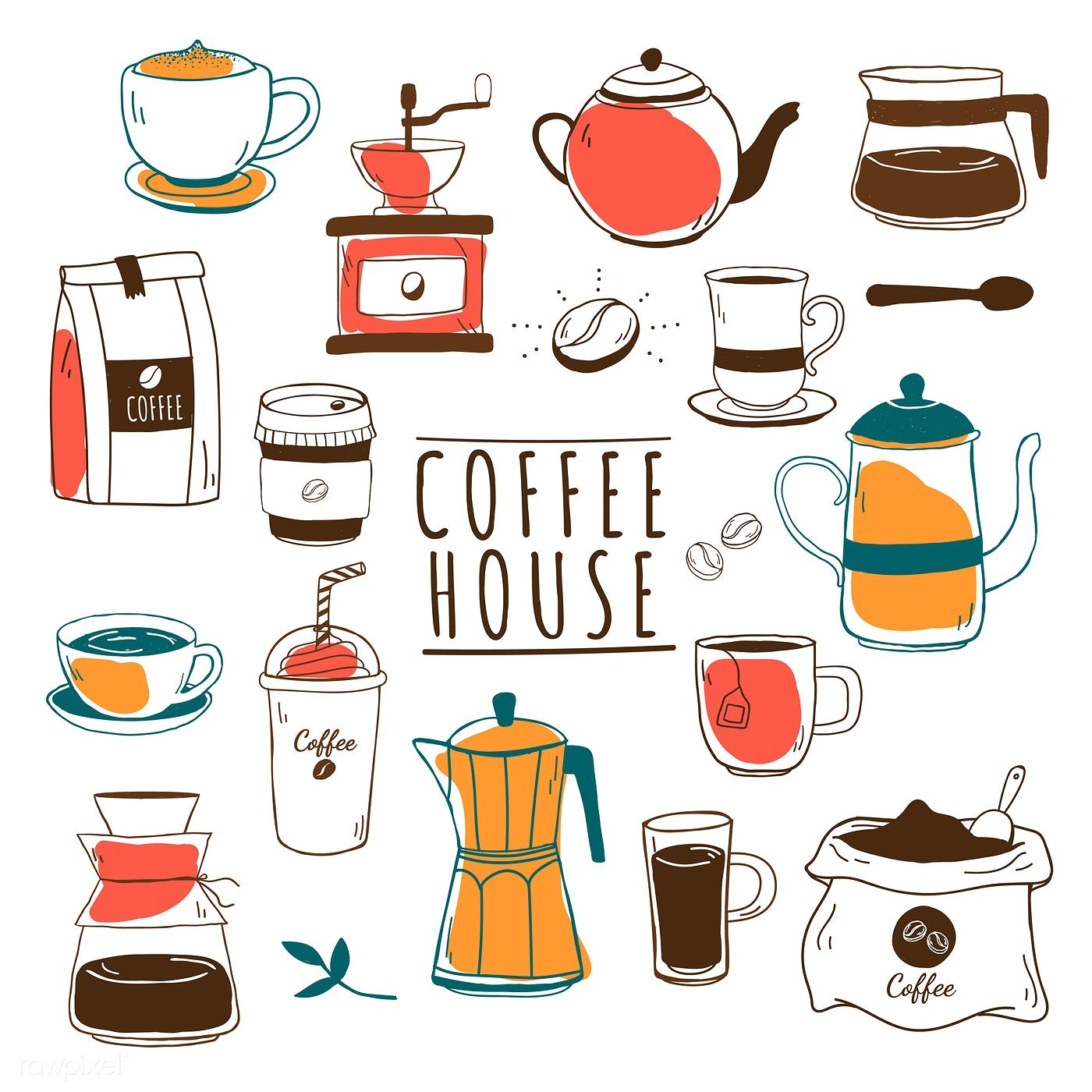 Cafe and coffee house pattern vector free image by
