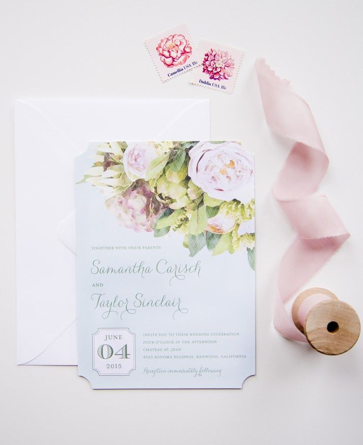 wedding invitations divas%0A  u   cFlowering Affection u   d designed by Sarah Hawkins Designs for Wedding Paper  Divas  The Knot