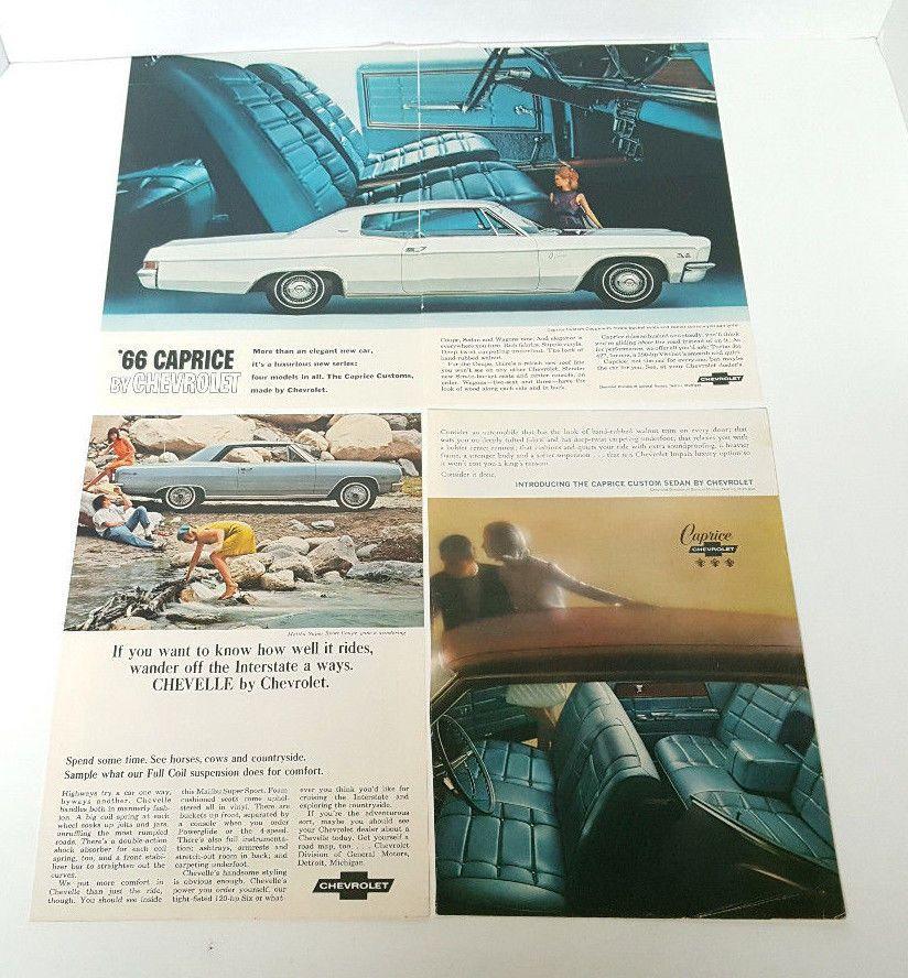 Vintage 1966 Chevrolet Magazine Ad Lot - Chevelle & Caprice - 1 & 2 Page Ads