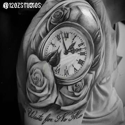 Brilliant black and grey pocket watch and roses tattoo by Kevin Soto.
