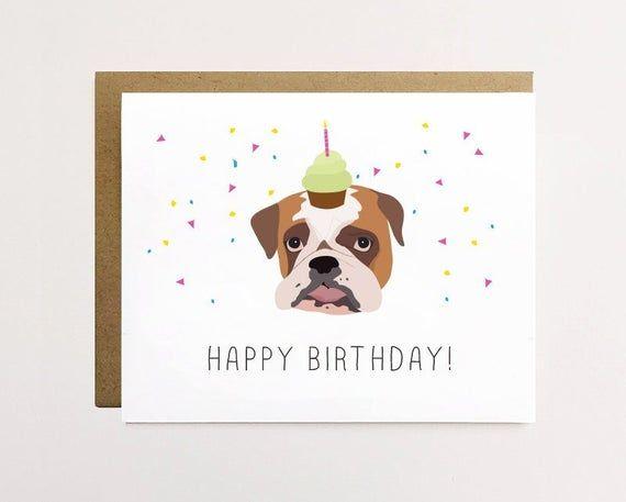 Bulldog birthday card, Cute birthday card, Funny bulldog birthday card for him, Children's birthday #funnybulldog