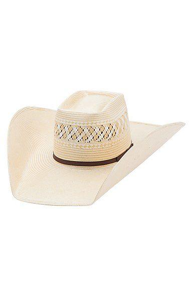 de4327cf994 American Hat 15X Two Tone Vented Brick Crown Shantung Straw Cowboy Hat