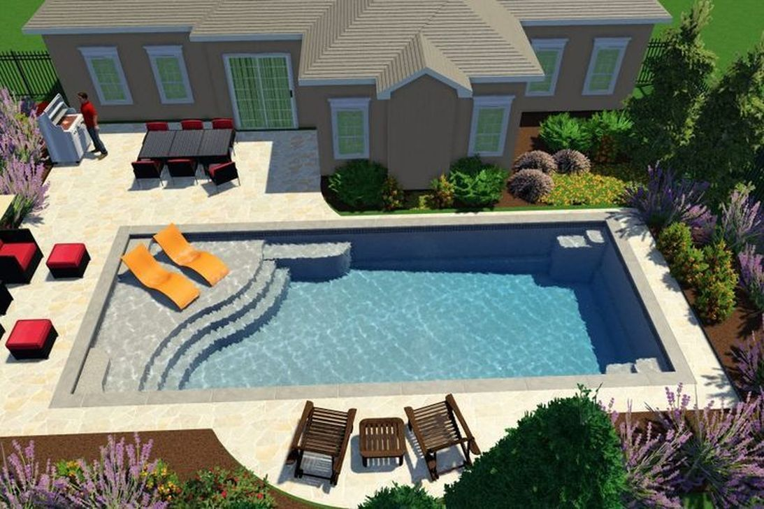 30 Modern Small Swimming Pool Design Ideas For Backyard Trenduhome Simple Pool Small Swimming Pools Backyard Pool Landscaping