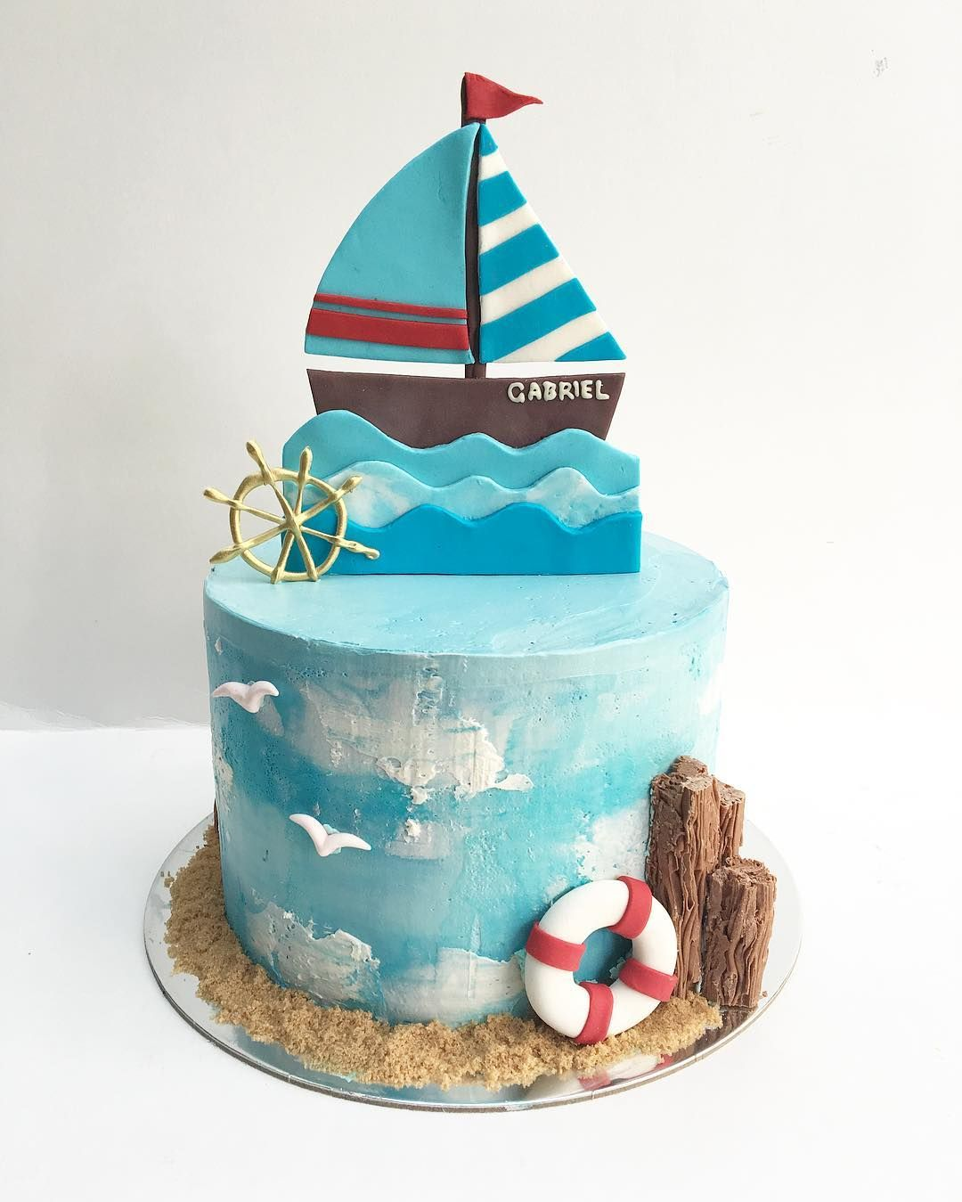 Astounding Amy Custom Cakes On Instagram Nautical Themed Cake For Baby Funny Birthday Cards Online Sheoxdamsfinfo