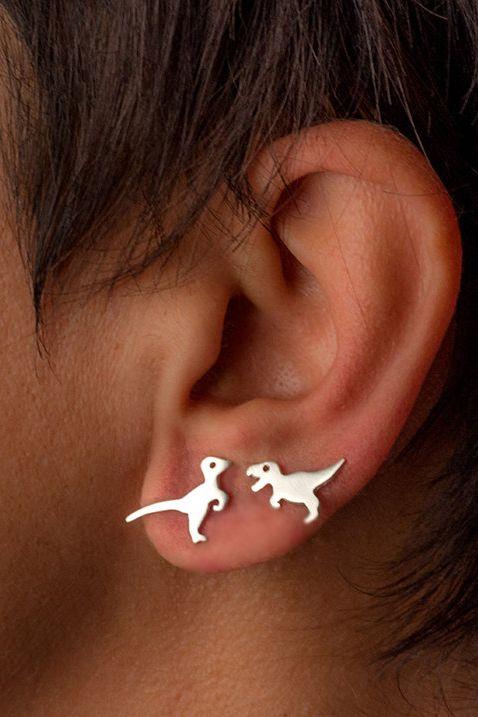 Single Dinosaur Earring Sterling Silver Mismatched Etsy Bar Stud Earrings Dinosaur Earrings Stud Earrings