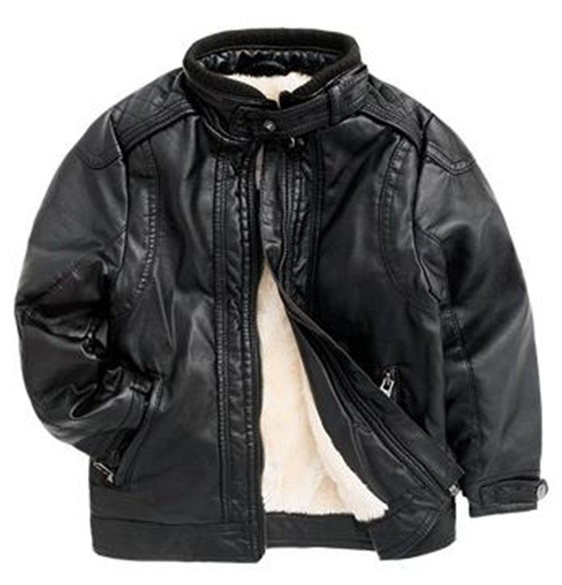 Yayu Kids Baby Boys Winter Warm Faux Leather Motorcycle