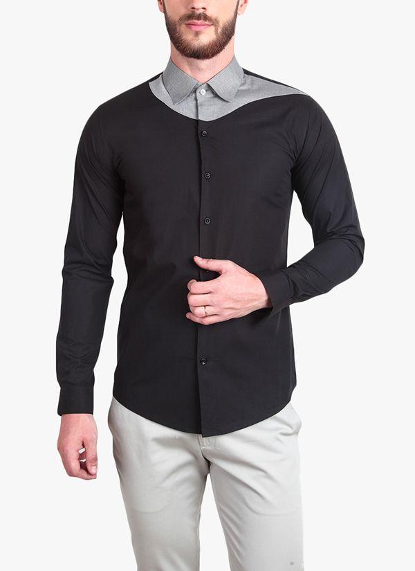 Indian Mens Casual Shirt Black