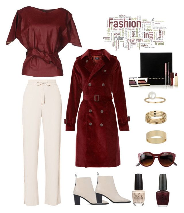 """Featured item: Coat"" by im-karla-with-a-k ❤ liked on Polyvore featuring A.P.C., Jijil, Theory, Kevyn Aucoin, Miss Selfridge, OPI and Acne Studios"