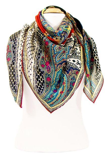 150bacb0c408 foulard carre de soie noir indie 105 x 105 cm   mesecharpes.com ...