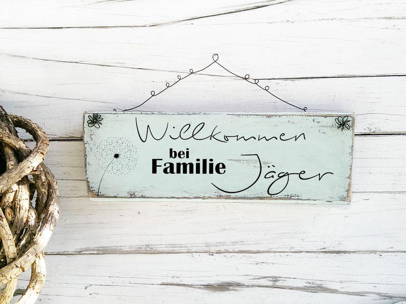 Willkommen Schild Holz Familienname Familie Name Haustürschild ...