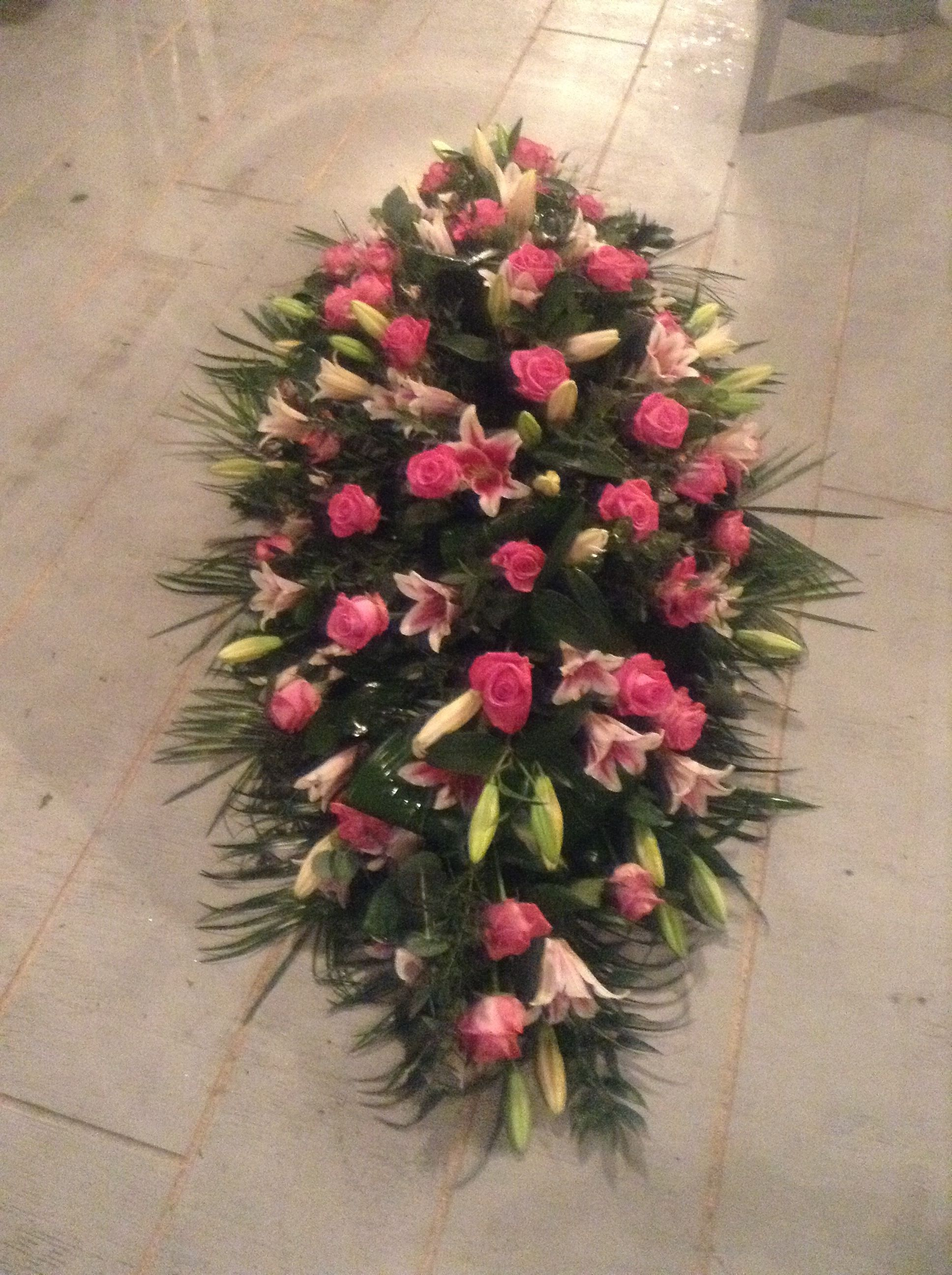 Pink Rose And Pink Lily Coffin Spray Casket Spray Funeral Flowers