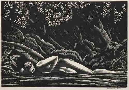 Rockwell Kent (American, 1882-1971), Forest Pool, 1927. Wood engraving.