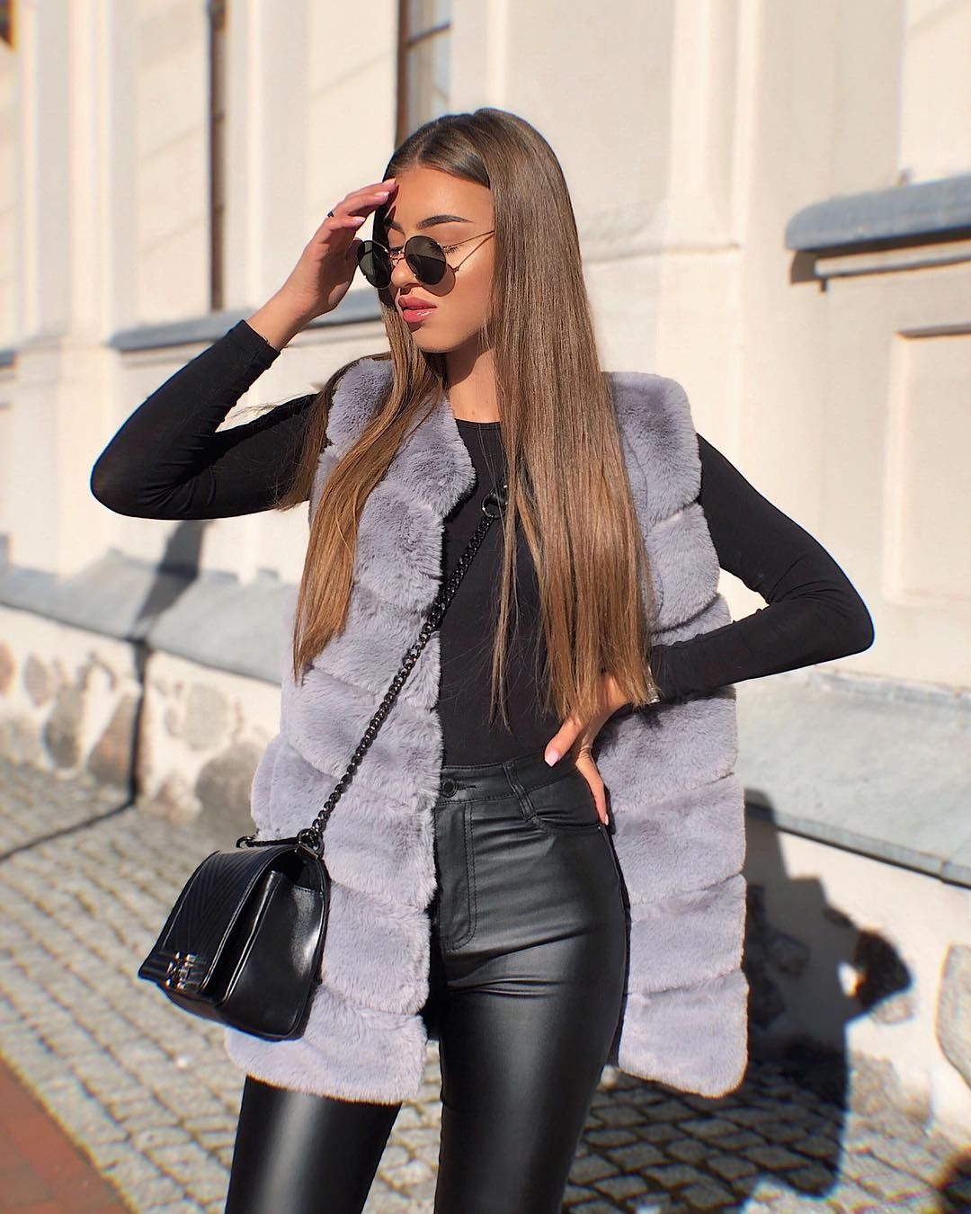 classic style sleek super cute Pin by . on InspO | Fur vest outfits