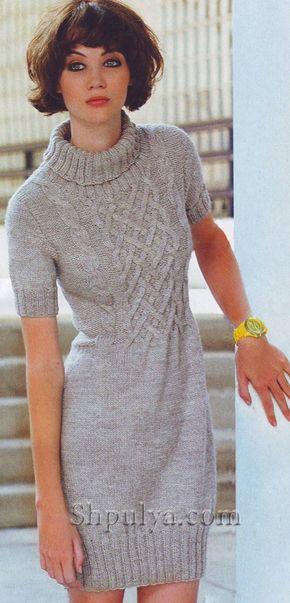 dd924cc096a1342 www.SHPULYA.com - Платье с плетеным узором, вязаное спицами ...