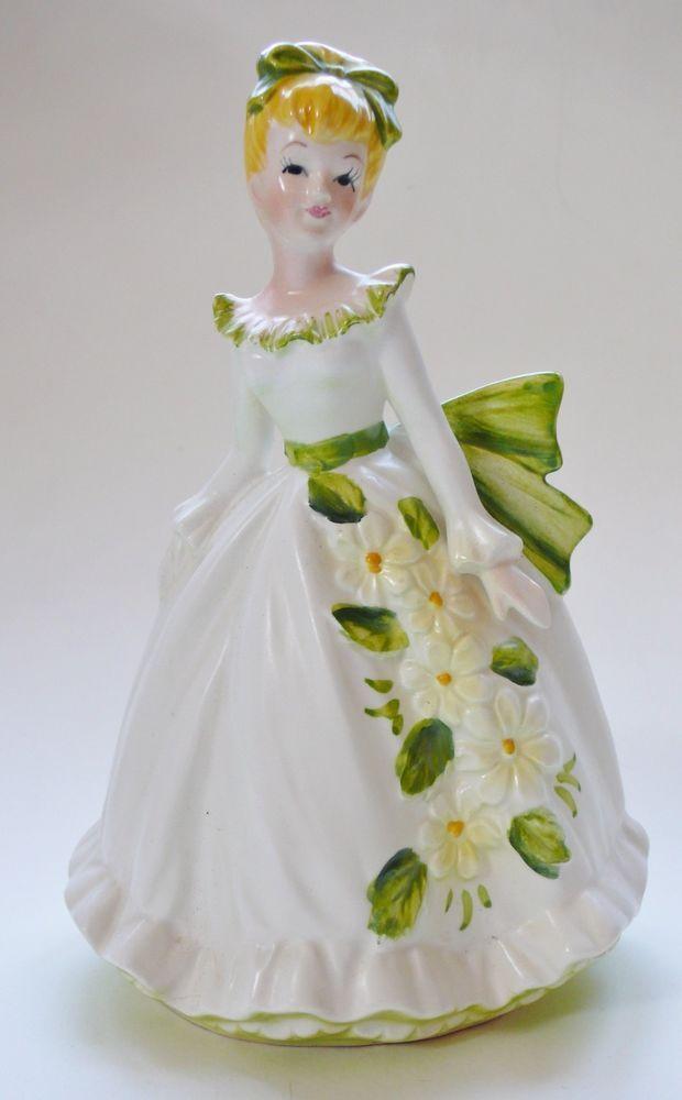 Vintage Lefton China Lady Plantervase 6640 Figurine Blonde Girl