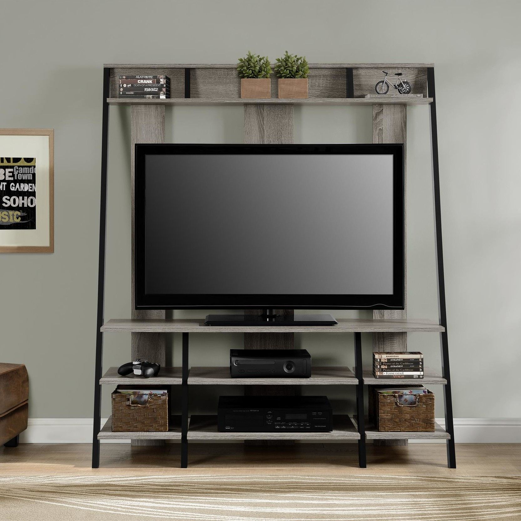 "Features:  -Upper storage shelves.  -Lower storage shelves hold av components.  TV Size Accommodated: -48"".  Product Type: -Entertainment Center.  Design: -Open shelving.  Finish: -Sonoma oak.  Frame"
