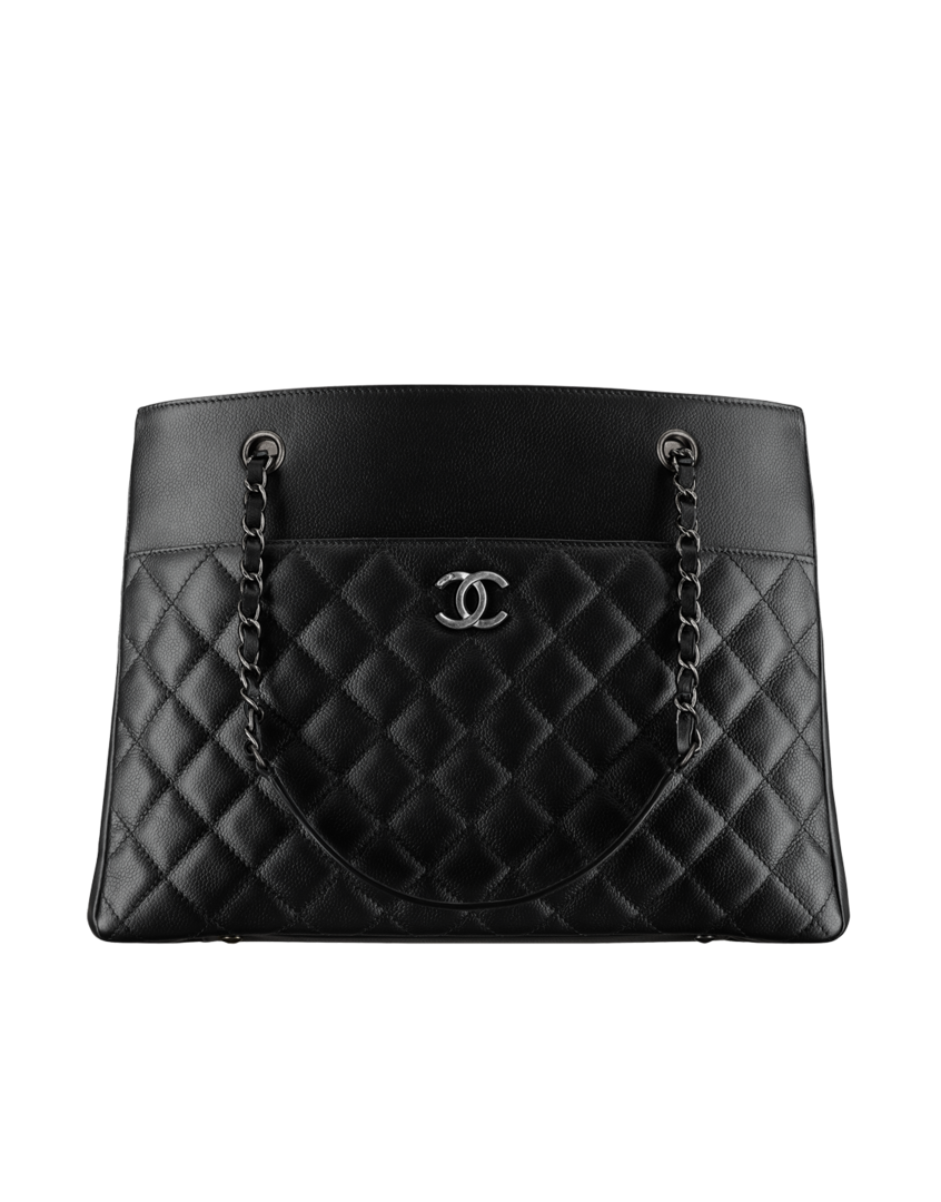 6435d449f62689 Large zipped shopping bag, grained calfskin & ruthenium-tone metal-black -  CHANEL