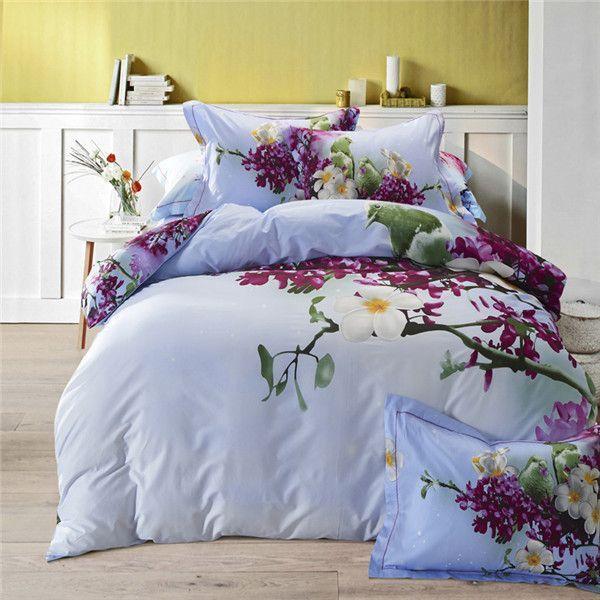 luxury 3d birds tree flowers bedding set 4pcs for king queen size duvet cover set bedsheet bed linen 100cotton quilt cover set products pinterest