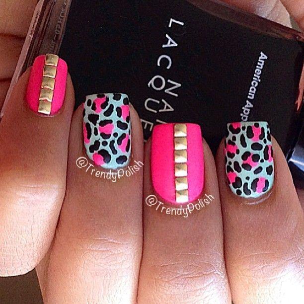 Pink nail design   Nails   Pinterest   Pink nails, Diamond and Gold