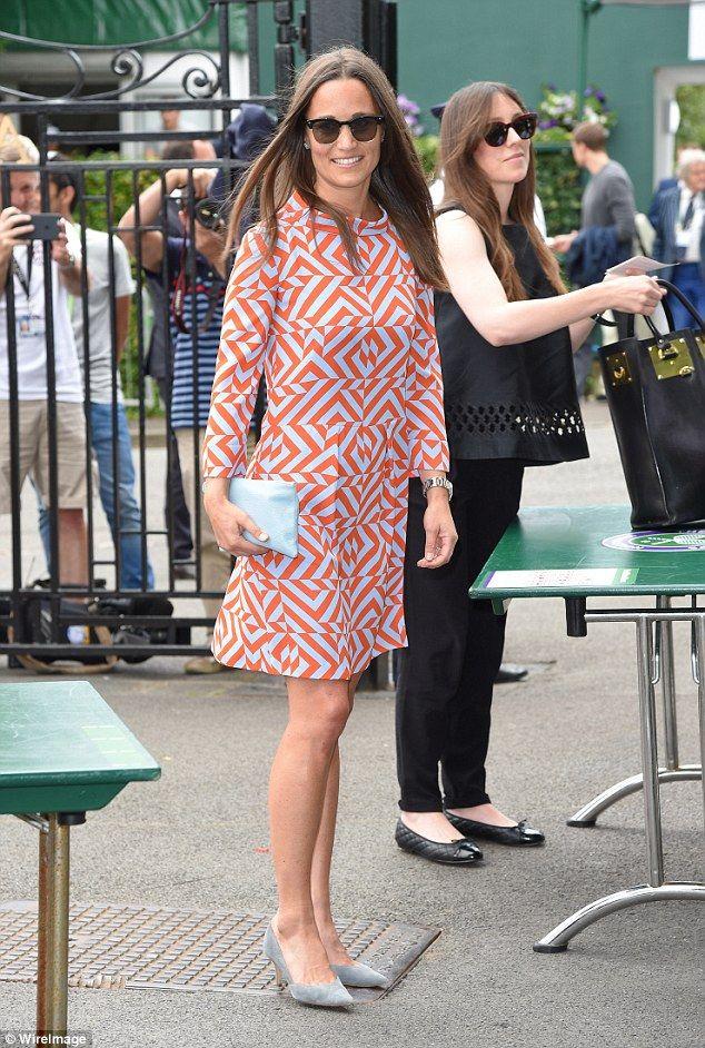 Pippa Middleton wears geometric print dress to Wimbledon