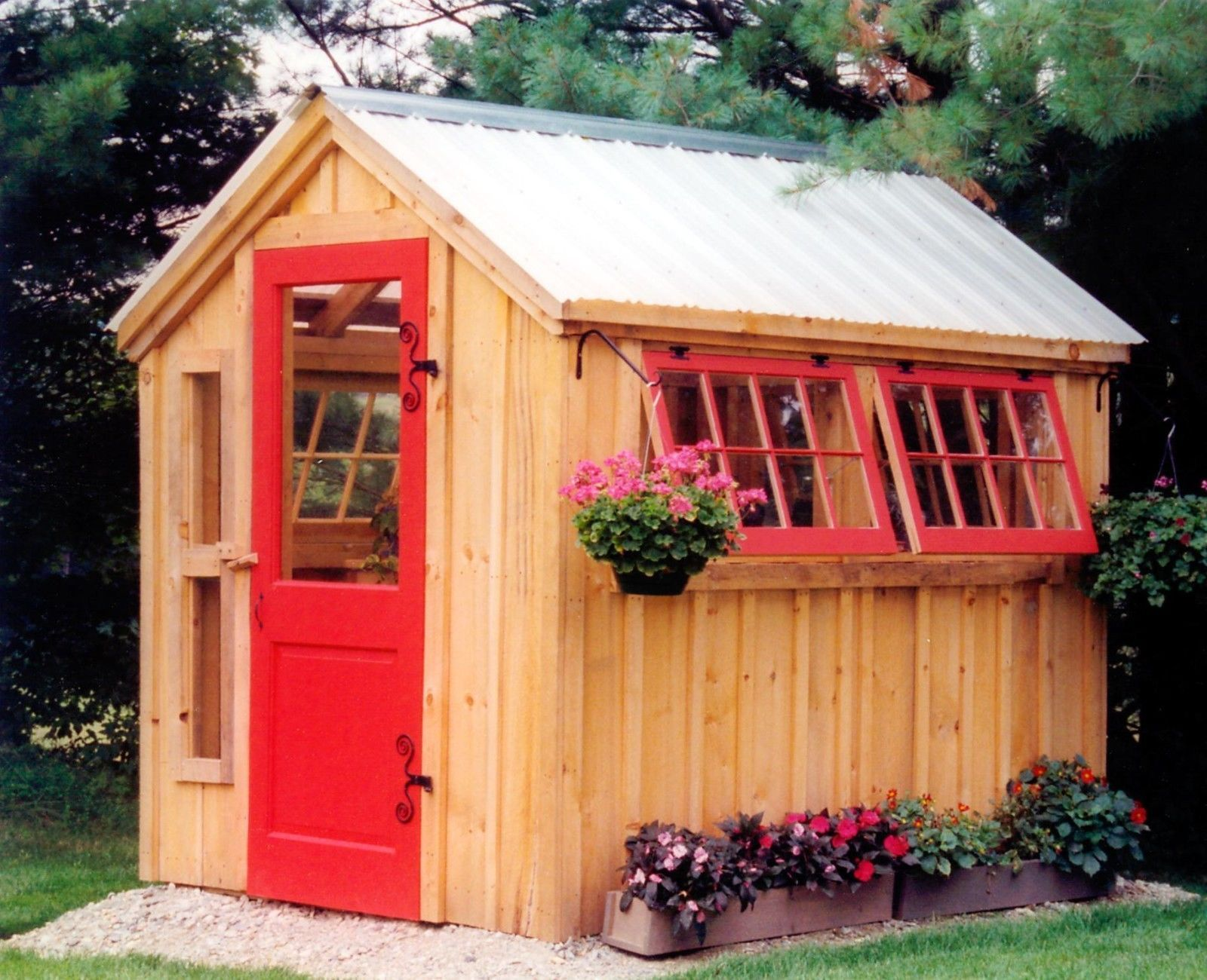 Garden Shed Hinged Windows Red Door Metal Roof Greenhouse Plans Building A Shed Wooden Greenhouses