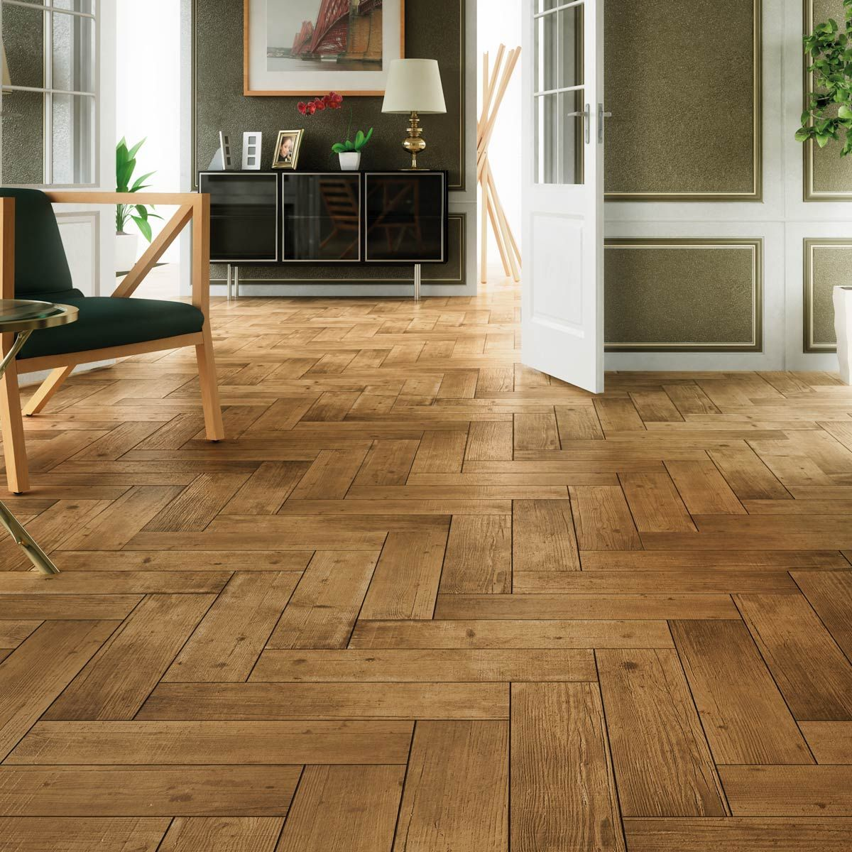 Arteak Castano Wood effect tiles, Wood effect floor