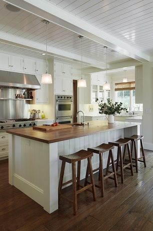 Cottage Kitchen With Island L Shaped Inset Cabinets Electric Cooktop Breakfast Bar Pendant Light Flat Door