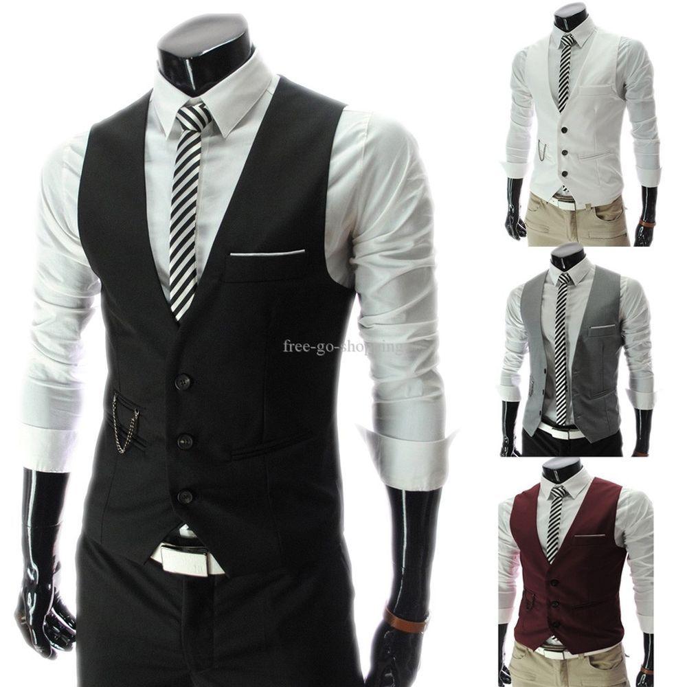 New Men's Slim Fit Casual Formal Dress Vest Waistcoat For Suits ...